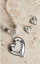 Blazin Roxx Silver Hammered Heart Jewelry Set 29466