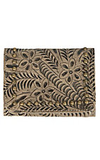 American West Shane Collection Golden Sand Floral Embossed Trifold Wallet