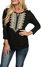 Anne French Women's Black 3/4 Sleeve Embroidered Casual Knit Shirt