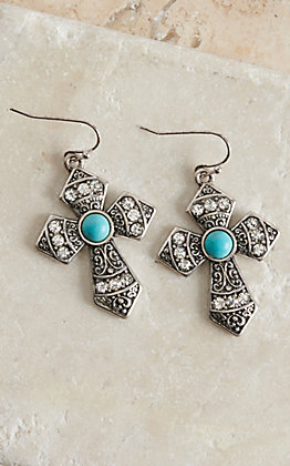 Blazin Roxx Silver and Turquoise Cross Earrings