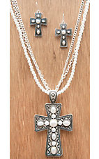 M&F Products Silver Cross w/ Pearls 3 Chain Jewelry Set 29565
