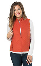 Outback Trading Company Women's Grand Prix Burnt Orange Quilted Microsuede Vest
