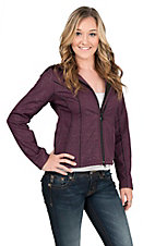 Outback Trading Company Women's Purple Aztec Print Softshell Hooded Jacket
