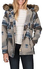 Outback Trading Company Women's Myra Blue and Grey Aztec Jacket