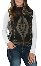 Outback Trading Company Women's Brown Maybelle Aztec Print Vest