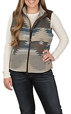 Outback Trading Company Women's Maybelle Grey and Blue Aztec Print with Brown Faux Suede Vest
