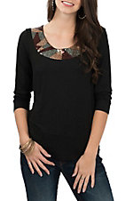 Anne French Women's Black Embellished Casual Knit Shit