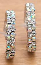 M&F Products Clear Rhinestone Hoop Earrings