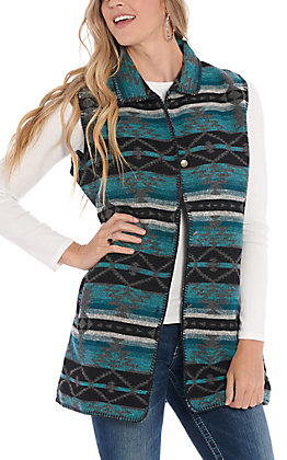 Outback Trading Company Women's Stockyard Turquoise Aztec Tapestry Vest