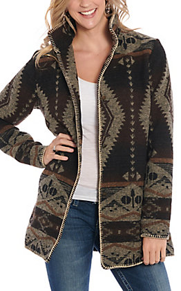 Outback Trading Co. Women's Brown Aztec Print Jacket