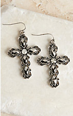 Blazin Roxx Crystal Cross Earrings