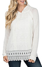 Anne French Women's Ivory Textured & Lace Hoody Shirt