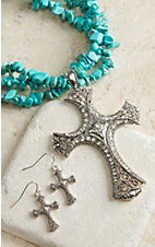 M&F Products Turquoise Strand & Cross Pendant Jewelry Set