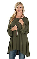 Anne French Women's Olive Lace Bell Sleeve Tunic Fashion Shirt