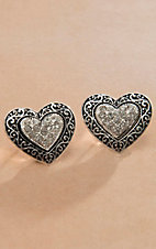 Blazin Roxx Crystals & Scroll Design Heart Earrings