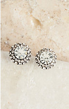 Blazin Roxx Large Clear Crystal Stud Earrings