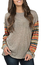 Grace & Emma Women's Grey and Serape Casual Knit Top