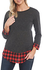 Grace & Emma Grey and Red Plaid Long Sleeve Blouse