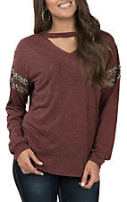 Grace & Emma Women's Maroon Lace Casual Knit Top