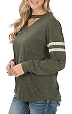 Grace & Emma Women's Olive Lace Casual Knit Top