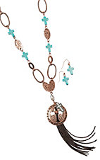 Blazin Roxx Copper Disc w/ Fringe and Turquoise Necklace and Turquoise Cross Earrings Jewelry Set