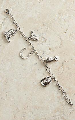 M & F Western Silver Western Charm Bracelet
