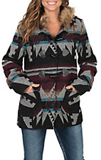 Cowgirl Hardware Burgundy Multicolored Aztec Jacket