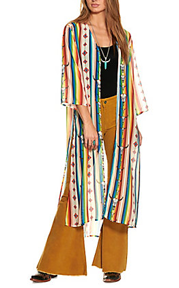 Lucky & Blessed Women's Ivory and Multi-Striped Serape Skull Duster