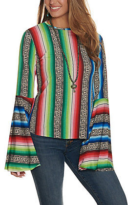 L&B Women's Snake Serape Long Bell Sleeves Fashion Top