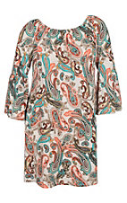 James C Women's Coral Taupe and Mint Paisley Bell Sleeve Dress - Plus Size
