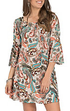 James C Women's Coral, Taupe and Mint Paisley Bell Sleeve Dress