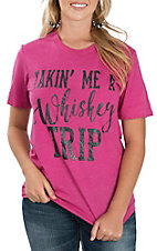 Crazy Train Women's Pink Whiskey Trip Short Sleeve Casual Knit Shirt