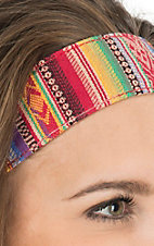 Blazin Roxx Multicolor Saddle Blanket Headband 3006297