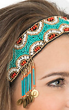 Blazin Roxx Turquoise Bohemian Beaded with Drop Coins Headband 3008633