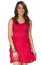 Anne French Red Tiered Ruffle Dress