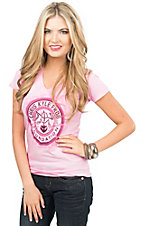 Women's Pink Chris Kyle Frog Foundation Short Sleeve V-Neck Tee