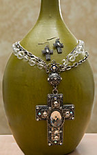 Blazin Roxx Crystal Cross w/ Clear Beads & Silver Chains Jewelry Set 30122