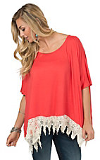 Origami Women's Coral Knit with Cream Lace Poncho Top