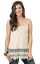 Origami Women's Beige with Lace Trim Tank