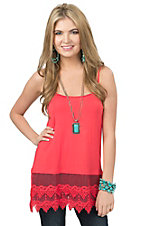Origami Women's Coral with Lace Trim Tank