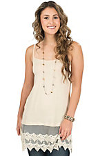 Origami Women's Natural Cream Lace Trim Camisole