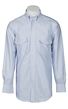 Gitman Bros. Men's Blue & White Stripe Long Sleeve Button Down Oxford Shirt