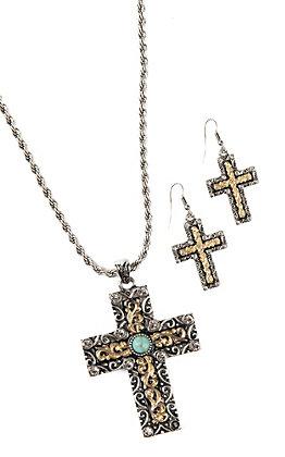 Blazin Roxx Large Two Tone Cross Jewelry Set
