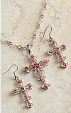 Blazin Roxx Women's Pink Crystal Cross Necklace & Earrings Set 3030630