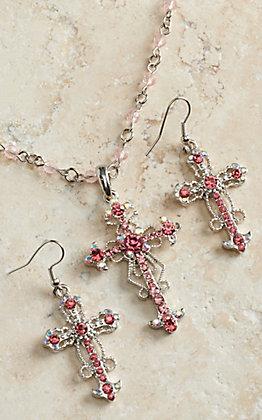 Blazin Roxx Women's Pink Crystal Cross Necklace & Earrings Set 3030630