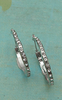 Blazin Roxx Silver with Clear Crystals Hoop Earrings 30326