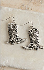 Blazin Roxx Silver with Crystals Boot Dangle Earrings 30360