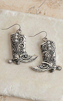 Blazin Roxx Silver with Crystals Boot Dangle Earrings