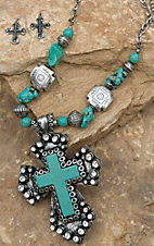 Blazin Roxx Silver & Turquoise Cross Pendant with Stone & Cross Beads Jewelry Set 30372