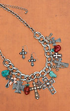 Blazin Roxx Silver & Gold Antiqued Cross Charm with Stones Jewelry Set 30382